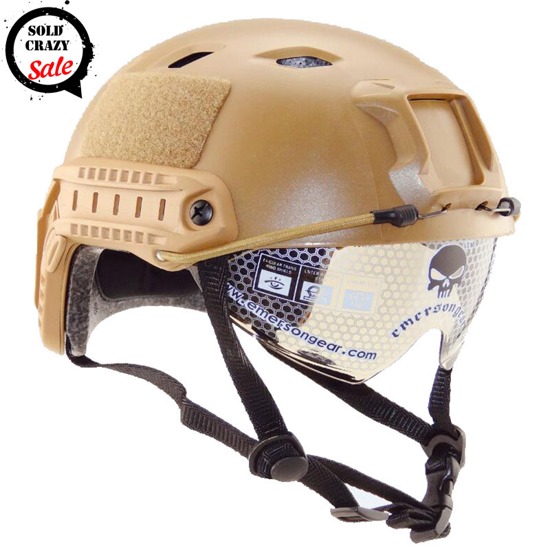 ФОТО Emerson Military Fast BJ Helmet Airsoftsports Tactical Paintball with Protective Slid Goggle ARC Side Rails Vas Shroud NVG Mount