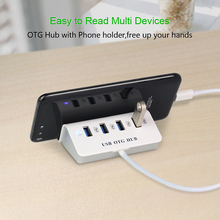 USB C HUB 4 Ports Type C Hubs Super Speed Type-c Splitter for Macbook USB-C Hubs Adapter with Phone Holder Computer accessories