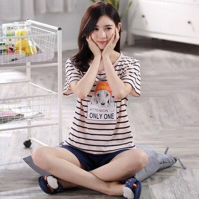 Высокое Качество Лето Женщины 100% Хлопок Пижамы Устанавливает женщин Пижамы Пижамы Домашняя Одежда Набор На Продажу