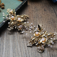 Gold Rose Gold Leaf Edge Bride Wedding Dress Wedding Hair Clip Head Ornament Sweet Korean Jewelry