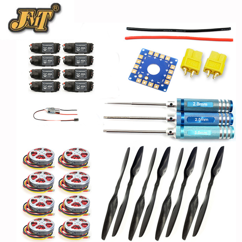 JMT 8-Axis Foldable Rack RC Helicopter Kit KK Connection Board+350KV Brushless Disk Motor+15x5.5 3K Propeller+40A ESC jmt j510 510mm carbon fiber 4 axis foldable rack frame kit with high tripod for diy helicopter rc airplane aircraft spare parts
