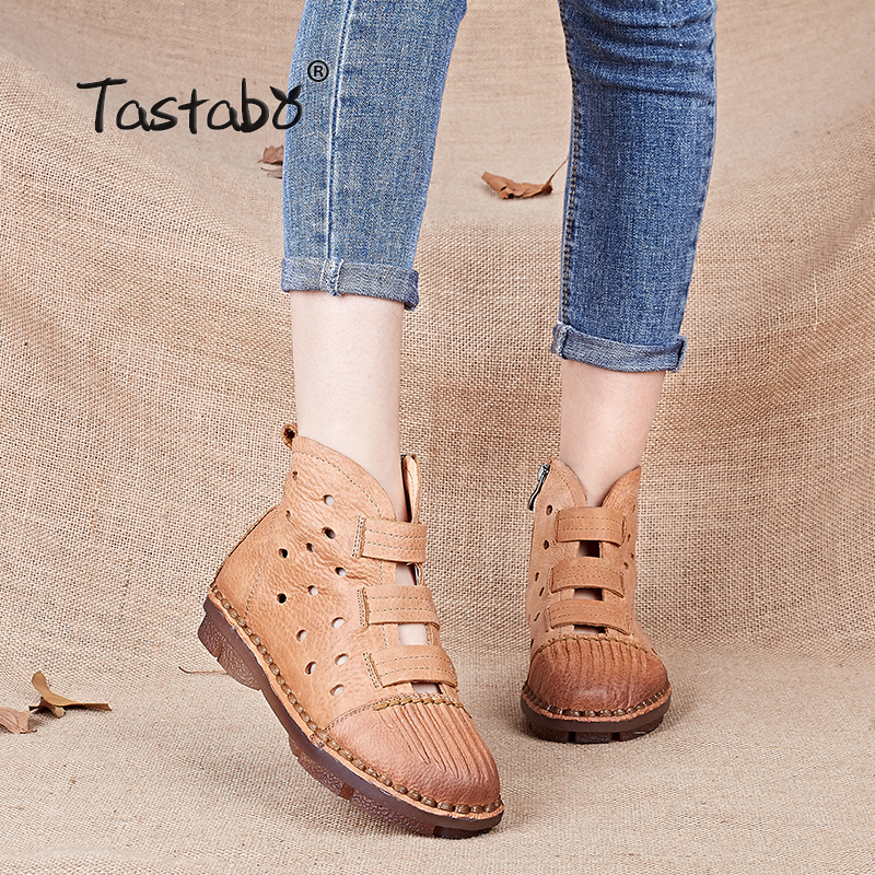Tastabo Genuine Leather Women Boots Handmade Casual leather Shoes Leather Moccasin Fashion Driving Flats White Boots Shoes handmade soft bottom fashion tassels baby moccasin newborn babies shoes 18 colors pu leather prewalkers boots