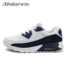 Moda Sport obuwie Air mężczyźni do biegania marki trampki oddychające niebieski biały amortyzację Jogging Zapatillas Chaussure Homme 90