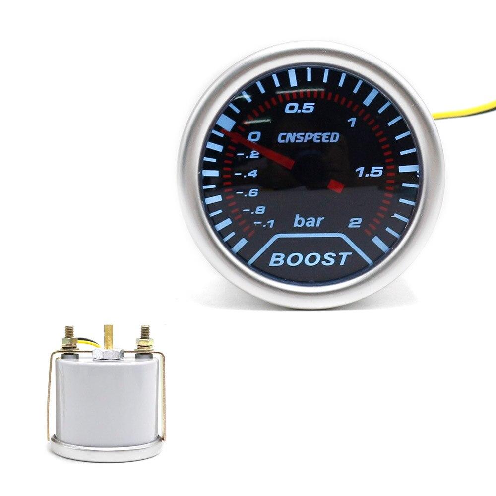 CNSPEED Free shipping 2(52mm) Smoke lens Car Turbo Boost gauge (-1~2 Bar) boost meter /tachometer/car meter TT101225