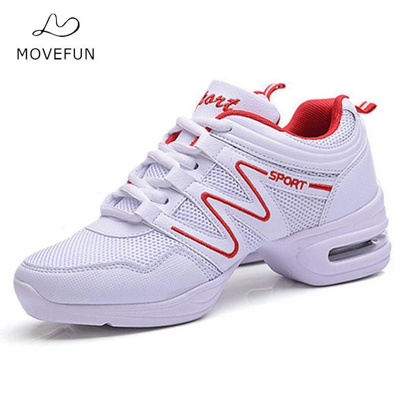 MoveFun Dames Meisjes Moderne Schoenen Wit Sport Dansschoenen Dames Nieuw Ademhaling Dans Sneakers Jazz Hiphop Dansen Schoenfiguren-07