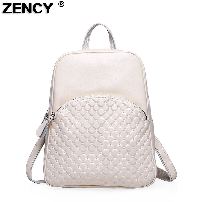 ZENCY 2018 Fashion Genuine Leather Women's Backpack Female Genuine Leather Girls Diamond Pattern Backpacks Cowhide School Bags zency genuine leather backpacks female girls women backpack top layer cowhide school bag gray black pink purple black color