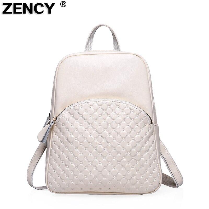 bca052946e95 Click here to Buy Now!! ZENCY 2018 Mode En Cuir Véritable Femmes Sac À Dos  Femme En Cuir Véritable ...