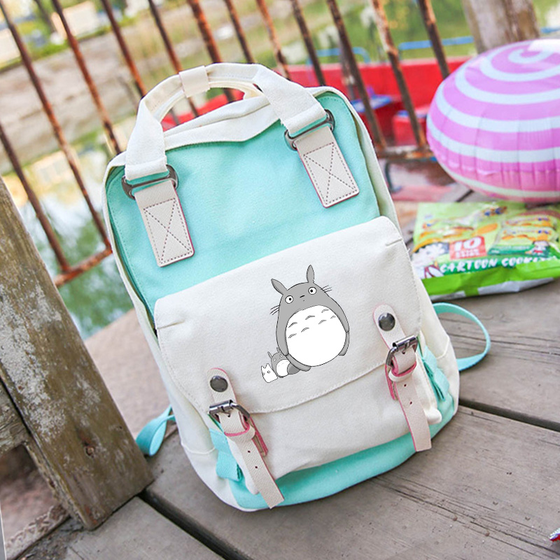 Free shipping Popular Top Tonari no Totoro Cartoo Canvas Shoulders backpack Korean version Harajuku panelled leisure schoolbag  free shipping korean version candy colors fairy tail logo printing man woman canvas schoolbag red green black blue backpacks