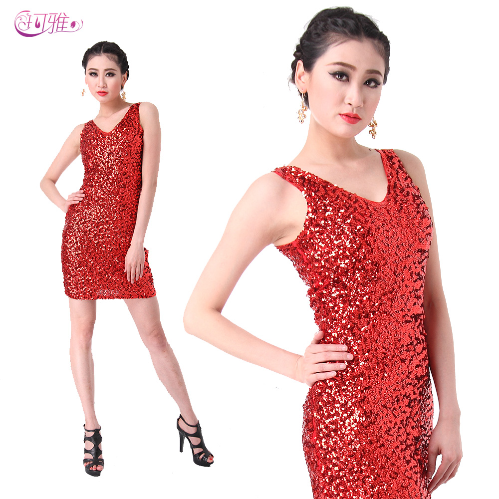 5585e1b3a47e On Sale Latin Dance Dress Sequins Party Dancewear Stage Clothes ...