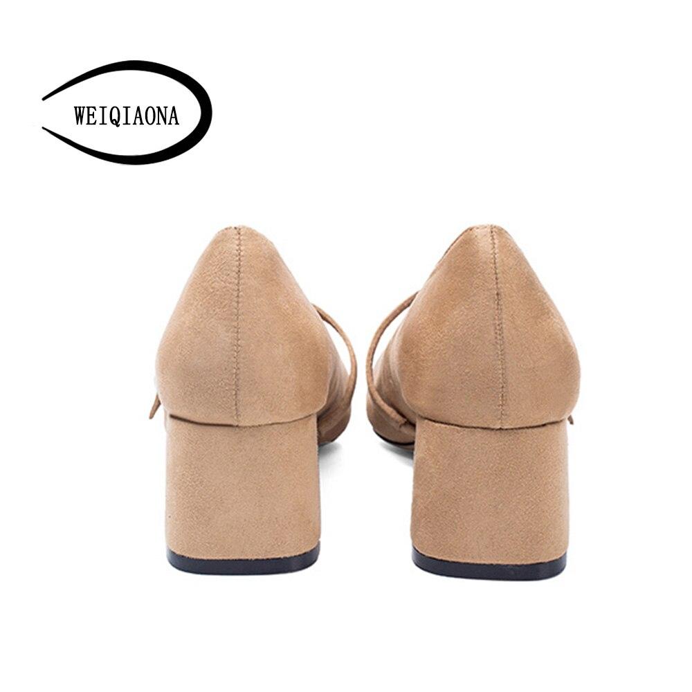 Weiqiaona Femmes kaki Hauts Noir Vintage Luxe Dames Travail Chaussures Élégantes De 2018 Talons Chic Mode Marque Nouvelle Pompes rvSCn0rwAq