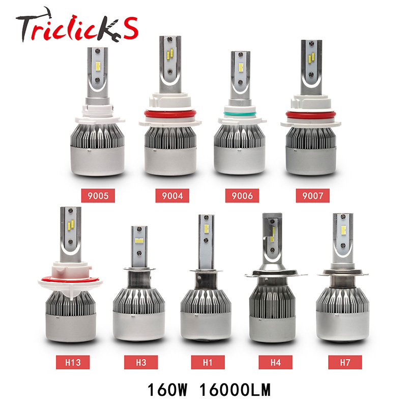Triclicks 9005 9006 H4 H7 H13 H8 H9 H11 9004 9007 880 881 Auto Car Headlights LED 160W 16000LM Flip Chip Bulbs Hi-Lo Headlight матрас dimax дрёмушка 70х160
