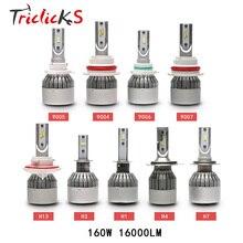 Triclicks 9005 9006 H4 H7 H13 H8 H9 H11 9004 9007 880 881 Auto Car Headlights LED 160W 16000LM Flip Chip Bulbs Hi-Lo Headlight