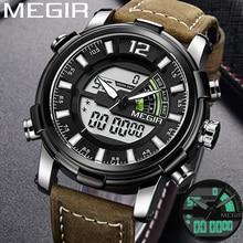 MEGIR montre bracelet pour hommes, marque de luxe, chronographe, militaire, Sport, Quartz numérique, LED