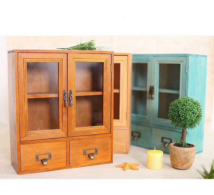 1 PC en bois multi-fonctionnel bureau bijoux boîte de rangement créatif en bois massif tiroir cosmétique conteneur de stockage NM 001