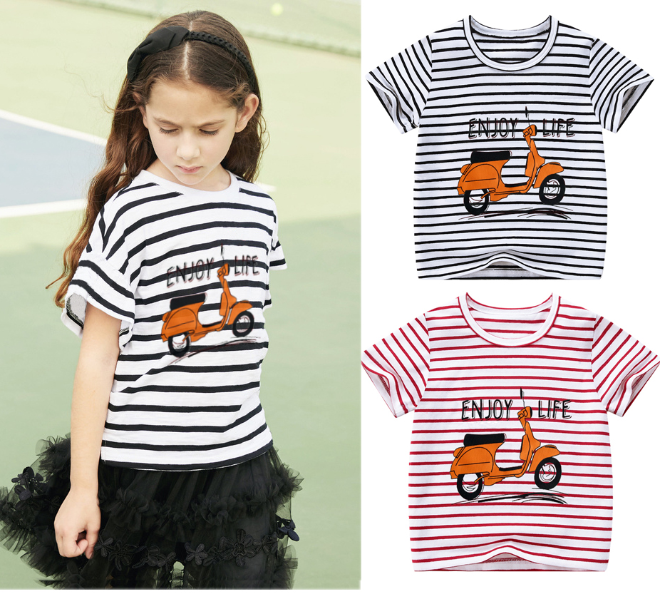 Boy Girl Kids Short-sleeved T-shirt Children Fashion stripe Shirt Cotton Infant Toddler Cartoon Clothes Summer Tees Good Quality image