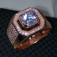 Choucong Gül Altın yüzük Yuvarlak kesim 3ct Taş 5A Zirkon Cz 925 Gümüş Nişan Düğün Band Yüzük erkekler için