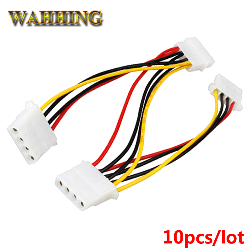 10pcs 4 Pin Molex Male to 3 port Molex IDE Female Power Supply Splitter Adapter Cable Computer 4Pin Power Cable Connector HY1264 10pcs molex to sata power adaptor cable lead 4 pin ide male to 15 pin hdd serial ata converter cables