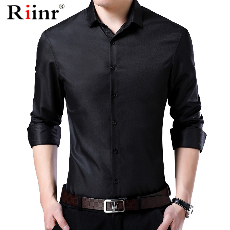 Men Shirt Mandarin Collar New Fashion Long Sleeved Classical Solid Shirt Men Slim Fit Dress Business Camisa Masculina
