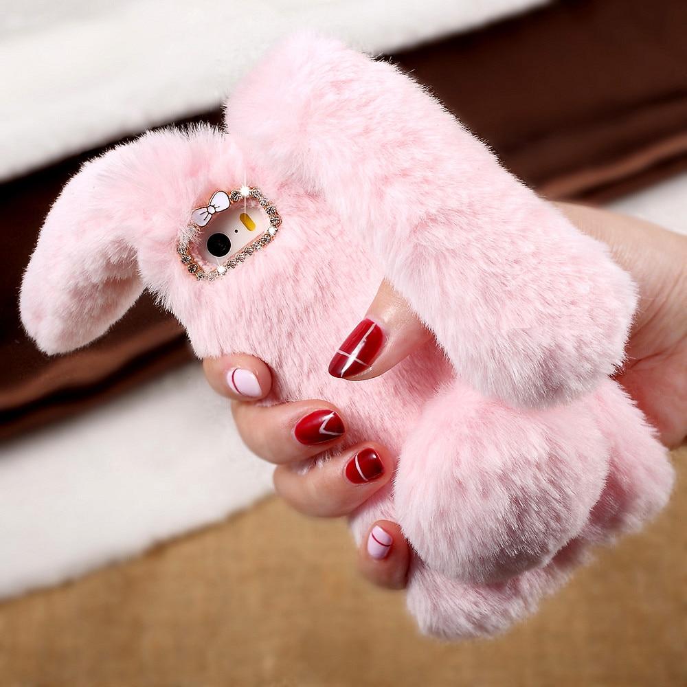 Dulcii for iPhone 6s fundas Cover Cute Case Rabbit Bunny Warm Furry Fur Phone Case for iPhone 6 6s 7 7Plus 8 8Plus SE Capa Coque