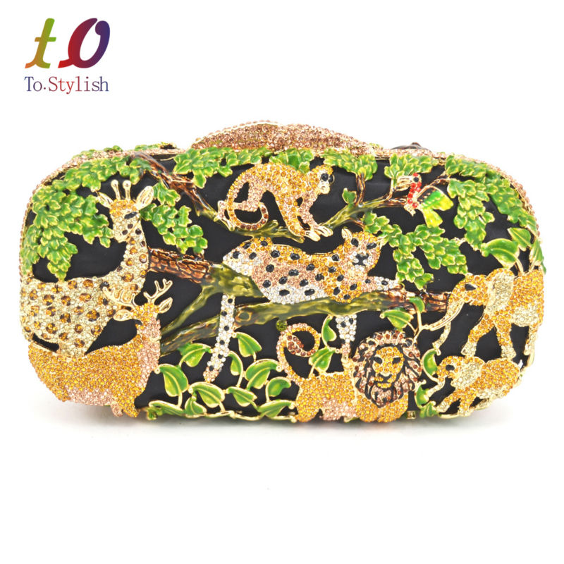 Lovely Green zoo Crystal Luxury Clutch Bag Forest and Animal Ladies Purse Party Bag With Chain Bride Wedding Evening Bag 88174 luxury crystal clutch handbag women evening bag wedding party purses banquet
