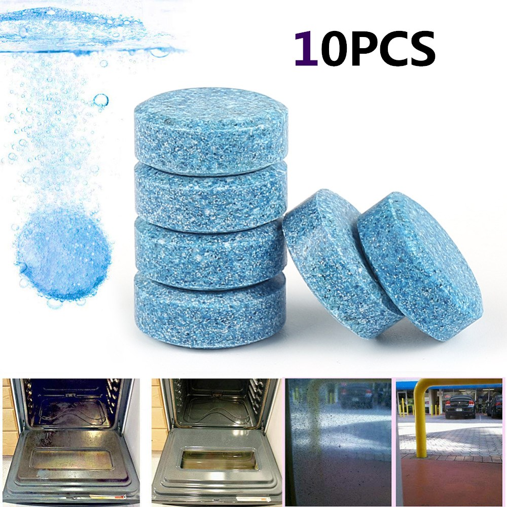 10pcs/Set Multifunctional Concentrated Effervescent Tablet Blue Glass Window Cleaner For Auto And Household Cleaning Drop Ship
