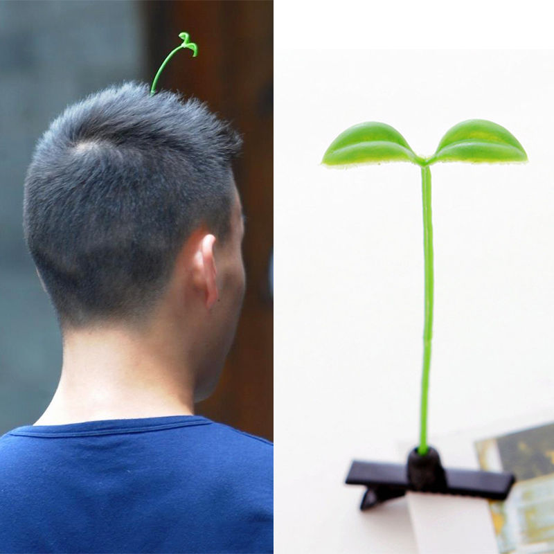 Hot 3PCS Funny Bean Sprout Antenna Green Plant Hairpins Hair Accessories Unisex