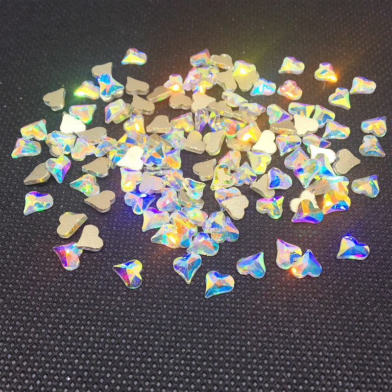 20 Pcs Rainbow Heart Nail Art Rhinestone 3d Kawaii Ab Crystal Jewelry Dekor Decoration Nailart Supply Stones Flatback Studs