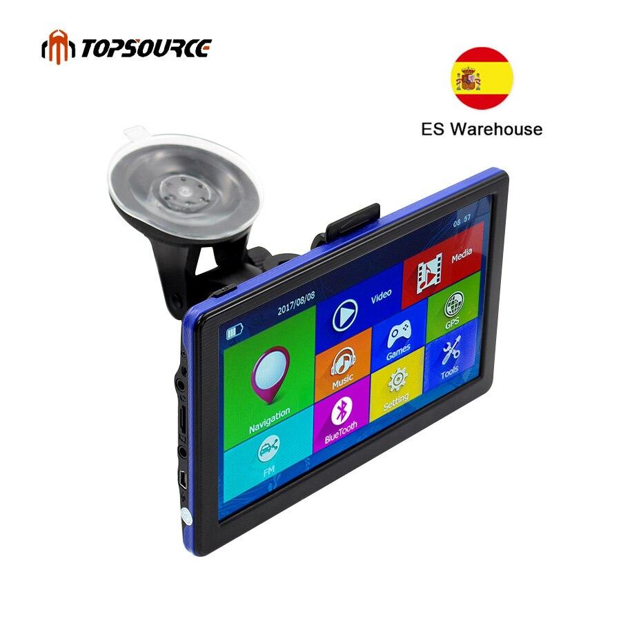 TOPSOURCE 7 pouces voiture GPS Navigation écran capacitif FM construit en 8 GB carte pour Europe/états-unis + Canada camion véhicule gps navigateur C6