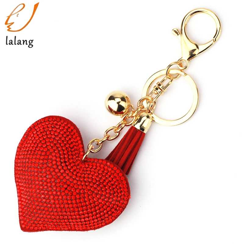 Love Heart Keychain 6 Color Full Crystal Key Ring Women Handbag Pendant  Charms Long Tassel Golden c4bc5dd670ba
