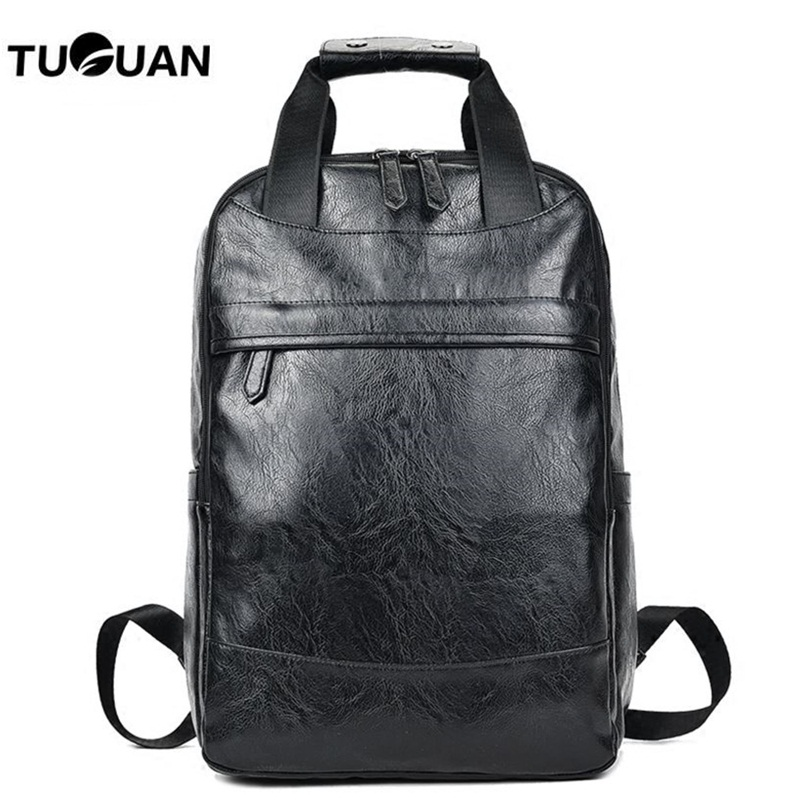 TUGUAN Men Backpack Leather Korean Fashion Laptop Bag Pack Male Tote Travel Backpack School Bag For Teenage Boys Student Mochila 14 15 15 6 inch flax linen laptop notebook backpack bags case school backpack for travel shopping climbing men women
