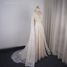 Sparkle שמלות כלה עם שרוול ארוך עד רצפת V מחשוף קו כלה שמלה