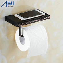Twin Flowers Series Carving Black Brass Toilet Paper Holders Mobile Phone Holder Bathroom Accessories Paper Shelf Phone Rack(China (Mainland))