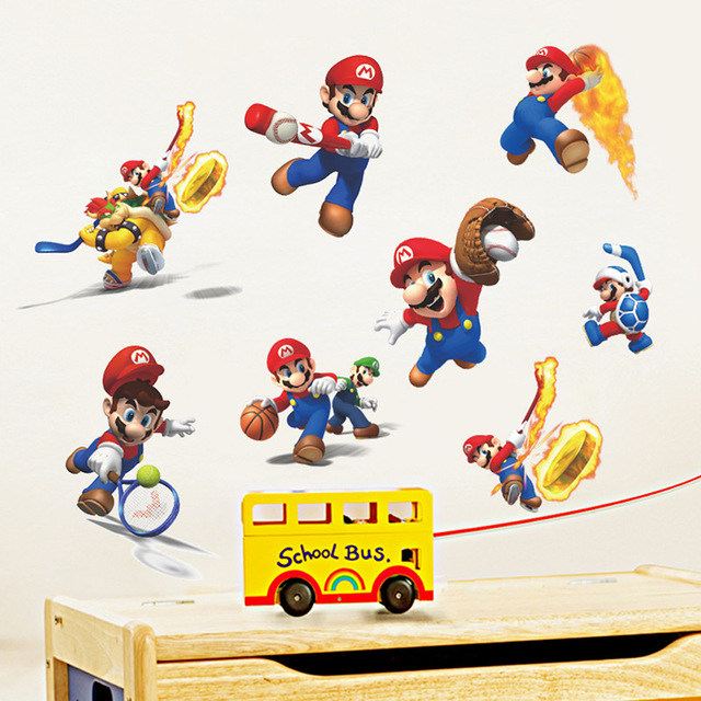 Creative Home Decor Cartoon 3D Super Mario Pattern Wall Stickers For Baby  Children Room 30*