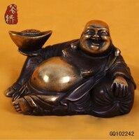 B0601 418Bronze Sculpture Laughing Buddha Crafts Buddha Decoration Ingot Buddha Feng Shui Products Decoration