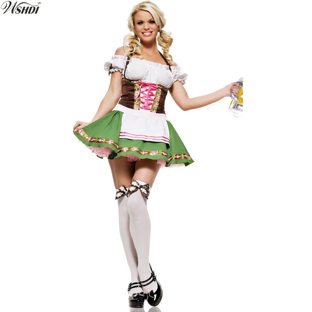 Sexy Women Beer Girl costume German Bavarian Oktoberfest Maid Wench Dirndl Costume Halloween Fancy Dress