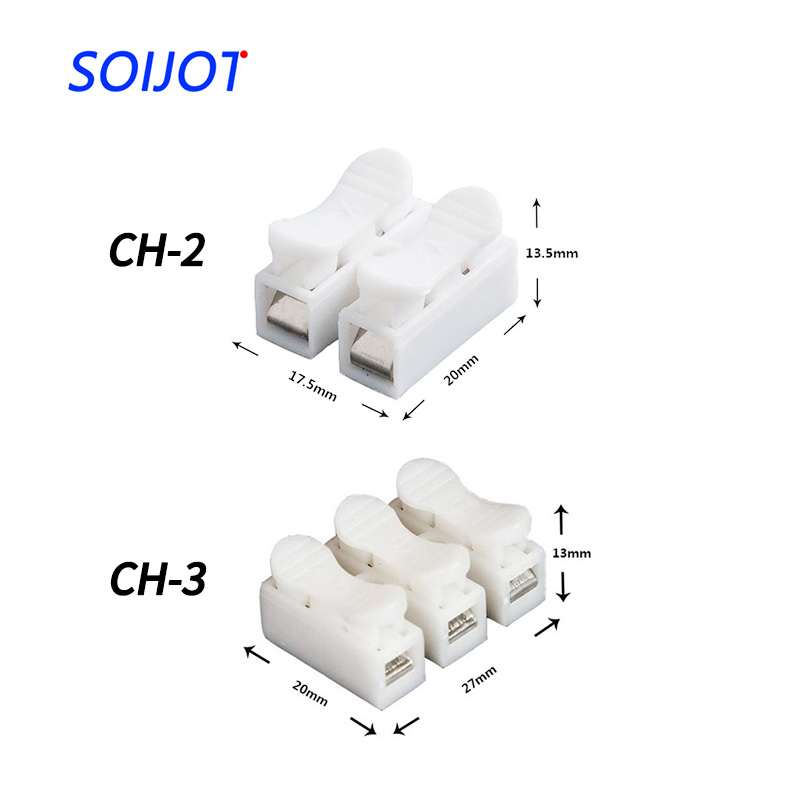Spring Wire Quick Connector 30pcs/lot 2p 3p CH-2 CH-3 Electrical Crimp Terminals Block Splice Cable Clamp Easy Fit Led Strip 10pcs quick splice wire wiring connector for awg22 18 1 2pin led strip wire cable electrical crimp terminal blocks conductor