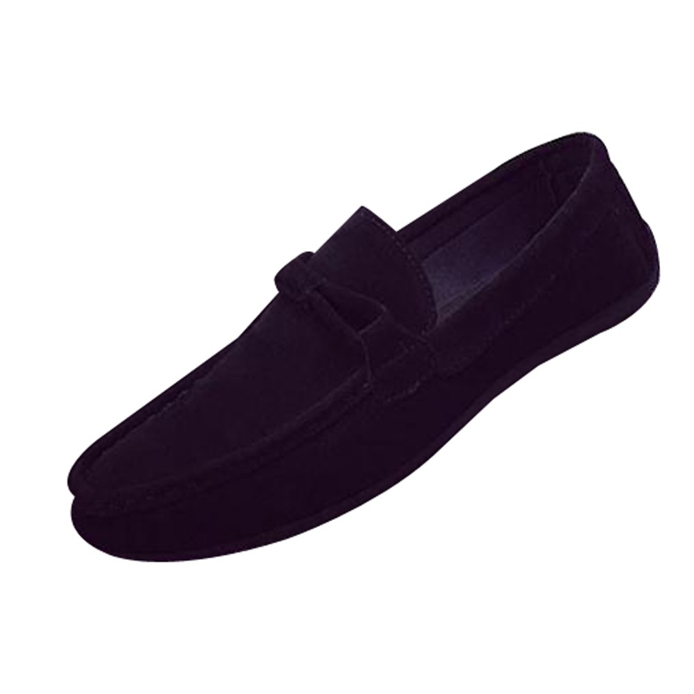 Men Casual Suede Loafers Black Solid Leather Driving Moccasins Gommino Slip on Men Loafers Shoes Male Loafers Big Size 39-44 agsan genuine leather men loafers snake moccasins fashion driving shoes slip on driving shoes black red suede casual loafers men