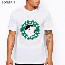 We bare bears t shirt men funny ice bear coffee graphic shirts male summer harajuku animal print tee homme tops