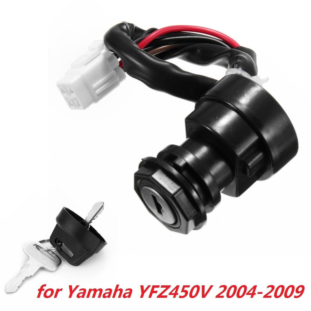 Black Motorcycle Ignition 2 Keys Lock Swicth Set  For YAMAHA YFZ450V 2004 2005 2006 2007 2008 2009 ATV