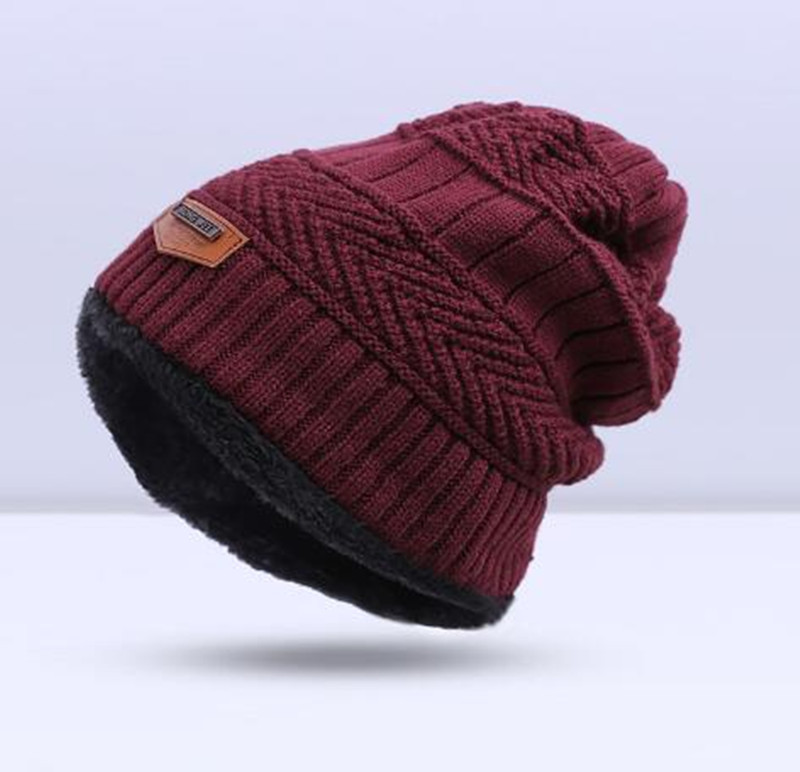 Зимняя вязаная шапка, шарф, набор, Мужская однотонная теплая шапка, шарфы, мужские зимние уличные аксессуары, шапки, шарф, 2 штуки - Цвет: Dark red2