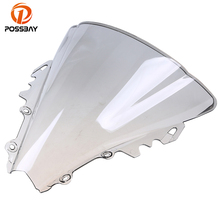 POSSBAY Gray Motorcycle Windshield Windscreens/Wind Deflector Dirt Bike Cafe Racer  for Yamaha R6 2006 2007 Scooter Windscreen