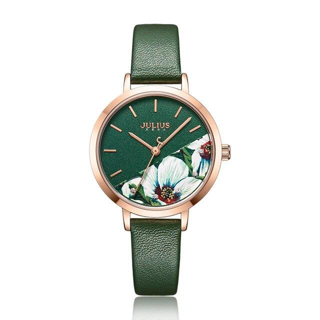 8f8ca15ba4fe Julius Watch Green Fresh Girl's Fashion Watch Flower Design Delicate Gift  Watch Clock For GF With Gift Box Packaging JA-1089