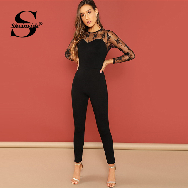 Sheinside Contrast Mesh Skinny Sexy Jumpsuit Elegant Womens Black Long Jumpsuits For Women 2018 Mid Waist Long Sleeve Jumpsuit