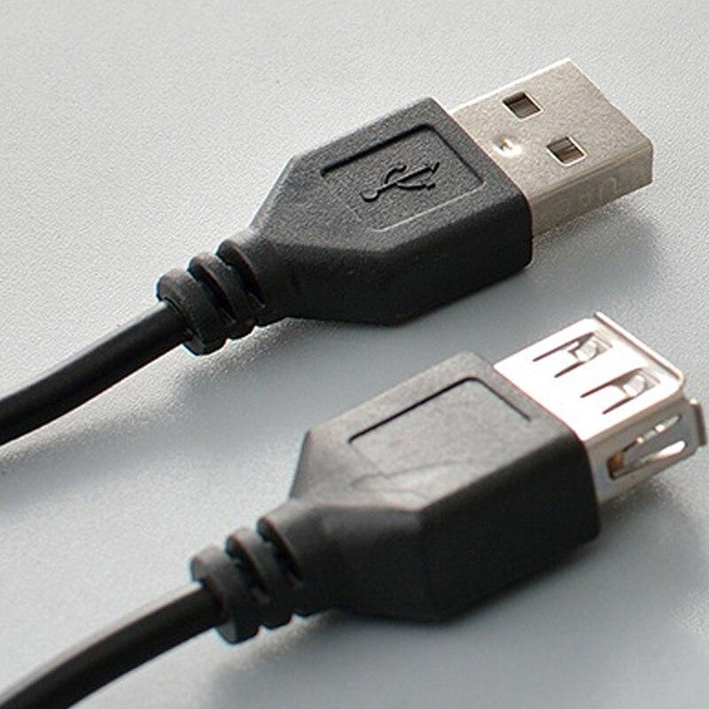 USB кабель-удлинитель, Супер Скоростной USB 2,0 кабель для мужчин и женщин, 1 м, кабель-удлинитель для синхронизации данных USB 2,0 - Цвет: Черный