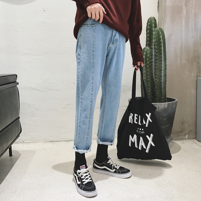 2017 Autumn Korean New Style Classic Men Baggy Blue Solid Color Jeans Straight Full Length Casual