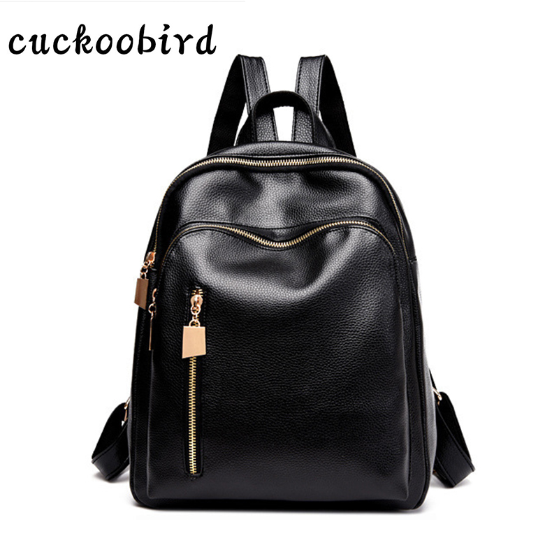 Cuckoobird Fashion Girls School Bags for Female Womens Backpacks PU Leather Unique Headphone Hole Design Women Travel Back Pack