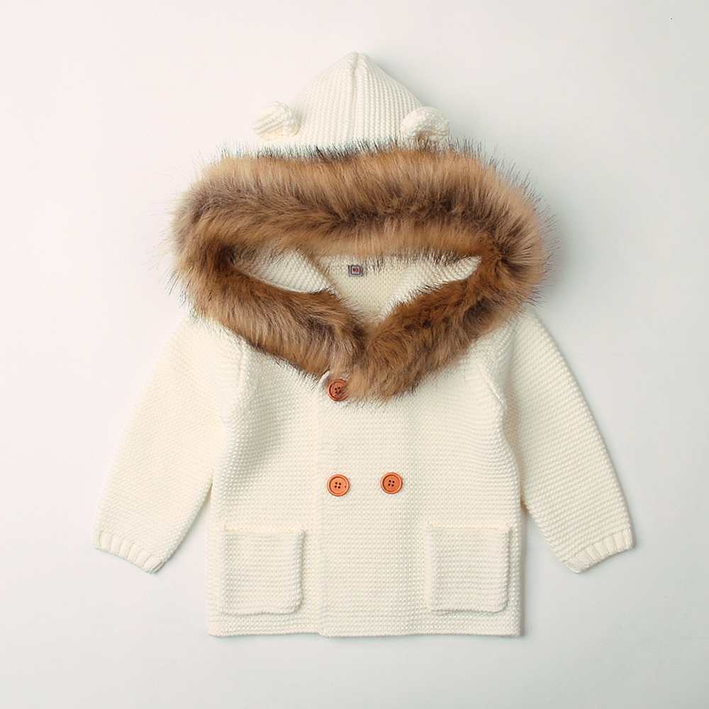 6-24M Winter Warm Newborn Baby Sweater Fur Hood Detachable Infant Boys Girl Knitted Cardigan Fall Outwear Children Knitwear недорого