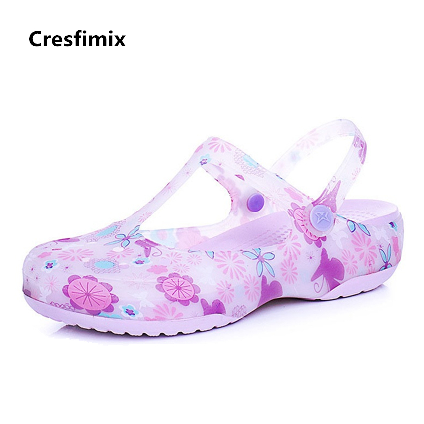 Cresfimix women fashion spring & summer soft jelly sandal shoes lady cute comfortable floral sandals female cool beach sandals cresfimix women fashion
