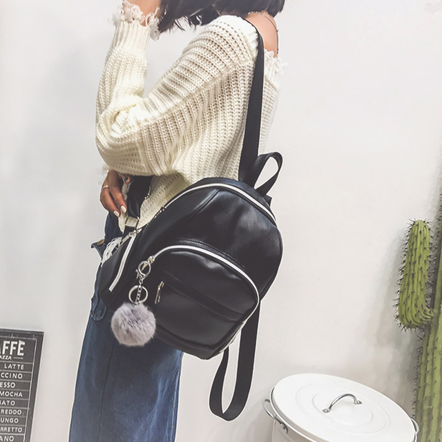 c8742f079f1 Vintage PU Leather Backpack with hair ball Women Mochila Travel Backpacks  School Bags For Girls Mini Backpack bolsas femininas