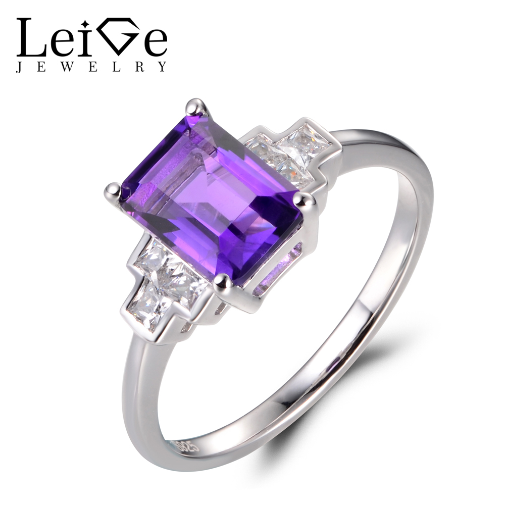 Leige Jewelry Amethyst Vintage Rings Unique Wedding Rings Emerald Cut Purple Gems February Birthstone Rings 925 Sterling Silver